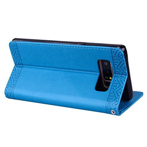 Carcasa Billetera para Samsung Note 8, Moon mood Mandala Tótem PU Cuero TPU Interior Caso Carcasa para Samsung Galaxy Note 8 SM-N950 6.3 pulgada Folio Flip Kickstand Caso con Cierre Magnético Tarjetas Azul