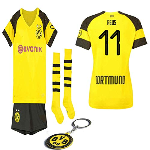 925123ad799df Borussia Dortmund 2018 19 Replica Pulisic Marco Reus Kid Jersey Kit :  Shirt, Short, Socks, Bag, Key Chain(#11 Marco Reus, Size 26 (9-10 Yrs Old  ...