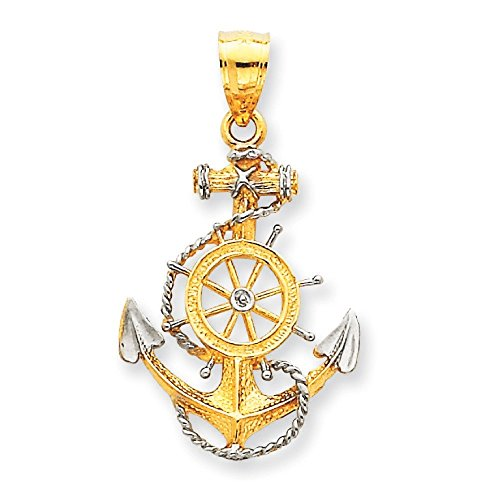 14 carats et Rhodium avec pendentif Ancre Corde-Dimensions :  30,7 x 17,3-JewelryWeb mm