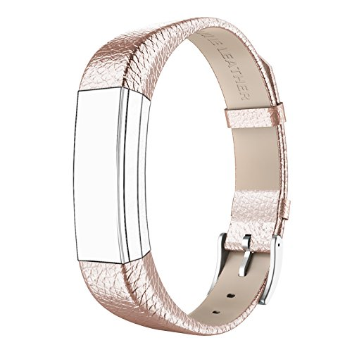 SWEES Genuine Leather Bands Compatible Fitbit Alta & Fitbit Alta HR, Genuine Leather Band with Buckle Replacement Wristband Small & Large Women Men, Silver, Gold, Black, Brown, Pink, Grey