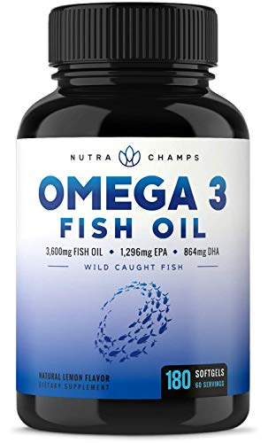 Omega 3 Fish Oil 3600mg, 180 Capsules - EPA 1296mg, DHA 864mg Fatty Acids - Omega-3 Burpless Pills - Highest Concentration Available for Joint Support, Immune, Heart Health, Brain, Eyes, Skin ()