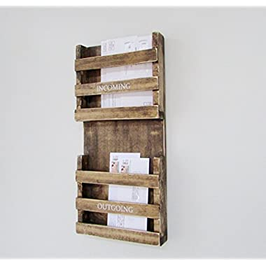 Mail Holder Key Hook Organization Organizer Storage Letters Magazines Wood Rustic Family Farmhouse Reclaimed Barn Wood Incoming Outgoing Mail Box