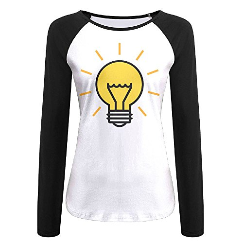 MOMAMU Cute Lightbulb Women's Long Sleeve Jersey Shirt Baseball Tee Raglan T-Shirts S Black (Party City In Asheville Nc)