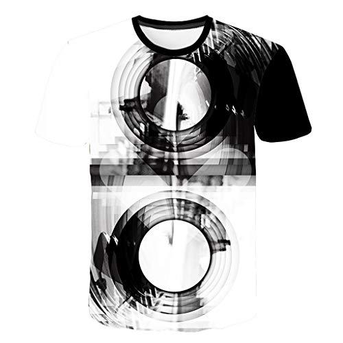 SDCSQ New Mens Short Sleeve 3D Printing Multicolor Tees Shirt T-Shirt Large Size Blouse Tops White