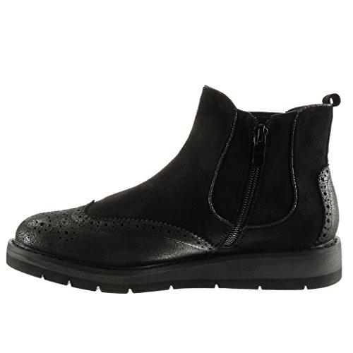 Angkorly Zapatillas de Moda Botines Chelsea Boots Bimaterial Zapatillas de Plataforma Mujer Brillantes Acabado Costura pespunte Perforado Talón Plataforma 3 cm Negro
