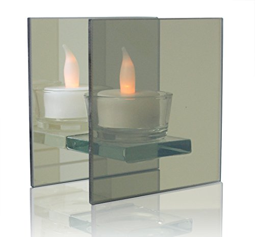 BANBERRY DESIGNS Infinity Tealight Candle Holder - Mirrored Glass Holder with LED -