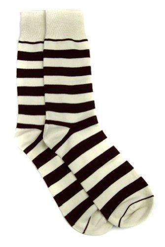 SOCK-103-3 - Cream - Brown - Designer Stripe Mens Sock