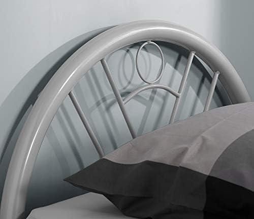 Happy Beds Feliz Camas Cama de Metal Solo 3 ft Single Plata Acabado de Muebles para Dormitorio casa, Metal, Plateado, 3FT - Frame Only