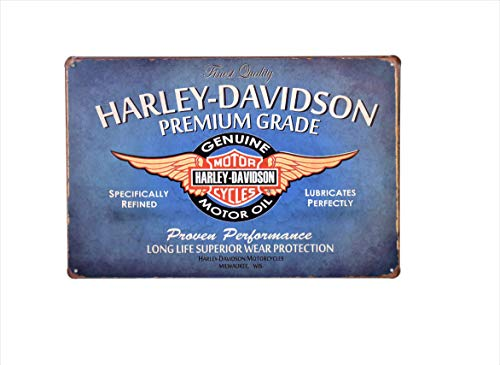 H&K Harley Davidson Motorcycle Motor Oil Retro Metal Tin Sign Posters Wall Decor 12X8-Inch