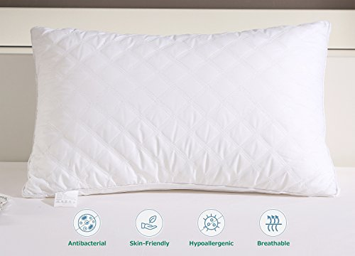 """Jepson Pillows For Sleeping Down Alternative Soft Hotel Bed Pillows Pack Of 2 100% Cotton Cover Adjustable Loft, Neck Pain Relief, Hypoallergenic Dust-Mite Resistant Queen(30""""X20"""""""