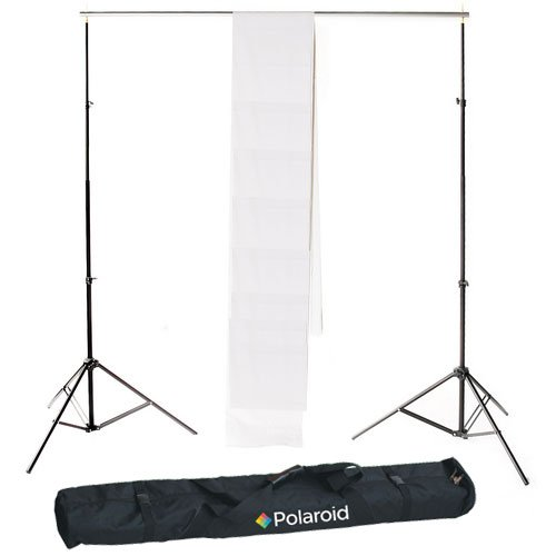 Polaroid Pro Studio Telescopic Background Stand Backdrop Support System Includes Deluxe Carrying Case + Polaroid Pro Studio White Premium Muslin Backdrop (10' x 16.5') AMZ-PLSEBGKIT3