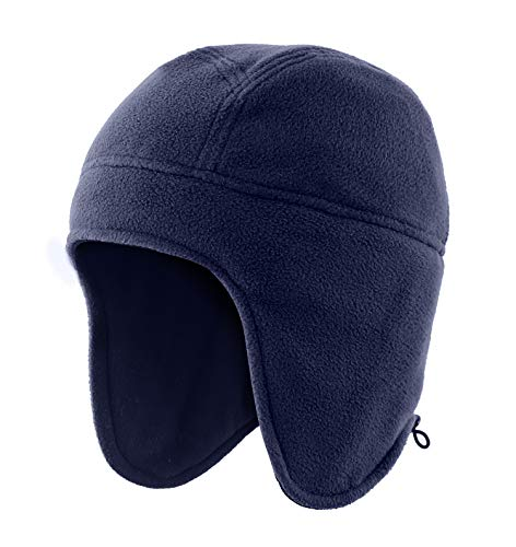 Home Prefer Winter Hats Men Fleece Knit Warm Earflap Beanie for Winter Sports Snow Ski Caps Navy Blue