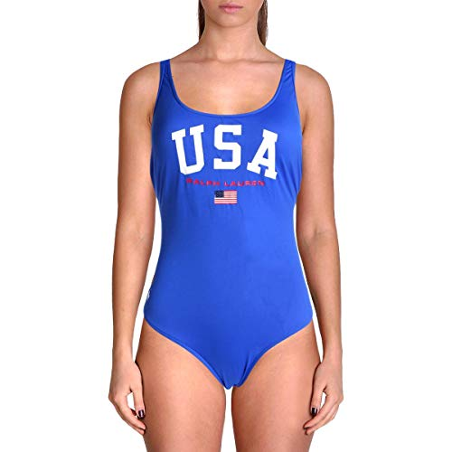 (Polo Ralph Lauren Womens USA One-Piece Swimsuit Blue XS One Size)