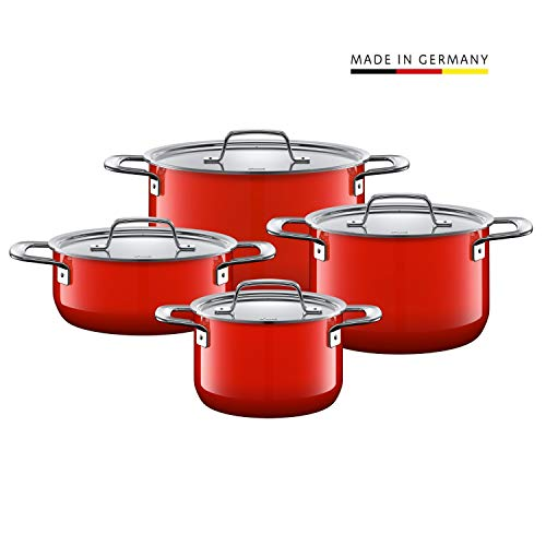 Silit Topfset Zeno Red 4-teilig, Töpfe mit Metalldeckel, Induktionstöpfe, Silargan Funktionskeramik, Topf Induktion, rot