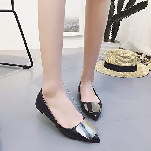 Eeayyygch Gericht Schuhe Weibliche Flache Schuhe wies Schuhe Metall Mund Quadrat Schnalle flachen Mund Metall Schaufel Schuhe einfache Freizeitschuhe (Farbe   37 Größe   Kamel) fad903