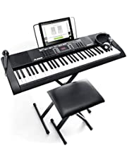 Alesis Melody 61 Key Keyboard Piano with 300 Sounds, Speakers, Digital Piano Stand, Bench, Headphones, Microphone, Music Lessons and Demo Songs photo