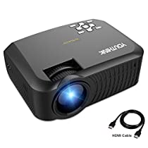 2000 Lumens LED Video Projector Support 1080P Portable for PC Laptop iPhone Smartphone,Ideal for Home Cinema Theater,Full HD Game and Outdoor Movie Night with HDMI Cord