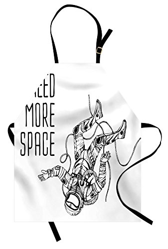 Outer Space Apron by Lunarable, Funny Astronaut falls down to Earth World Apollo Orbit Artsy Graphic Design, Unisex Kitchen Bib Apron with Adjustable Neck for Cooking Baking Gardening, Black White - Apollo Astronaut Costume
