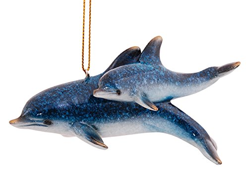 Cape Shore Mother and Baby Dolphins Swimming Christmas Holiday Ornament Resin