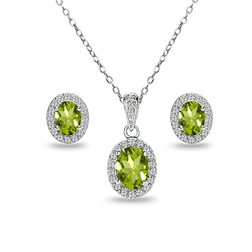 Sterling Silver Peridot and White Topaz Oval Halo Necklace and Stud Earrings (Shape Peridot Wedding Set)