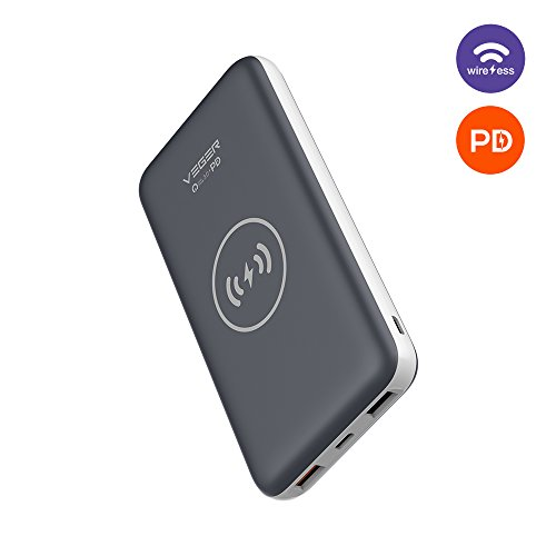 USB C Power Bank Power Delivery, Qi Wireless Charging Power Bank, VEGER 10000mAh Portable Charger Battery Pack PD Quick Charge 3.0 18W for Nintendo Switch, USB Type-C Laptop, iPhone 8 Plus/X and More