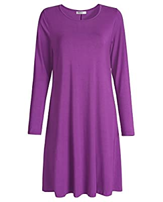 Esenchel Women's T-Shirt Dress Long Sleeve Swing Casual Dress
