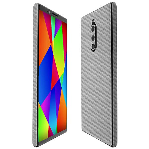 Sony Xperia 1 Screen Protector + Silver Carbon Fiber Full Body, Skinomi TechSkin Silver Carbon Fiber Film Compatible with Sony Xperia 1 with Anti-Bubble Clear Film - Full Body 1 Kit