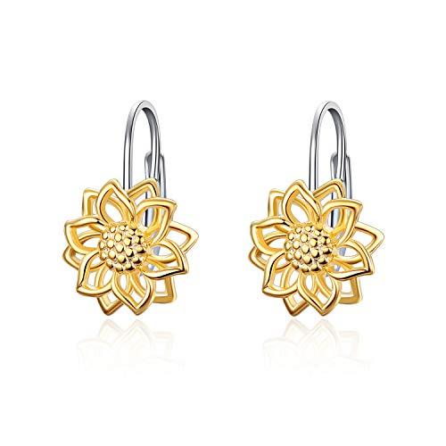 LUHE Sunflower Dangle Earrings for Women Girls 925 Sterling Silver Gold-Tone Filigree Flower Leverback Earrings Hoops(Sunflower Dangle Earrings) - Flower Dangle Leverback Earrings
