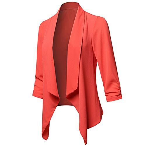 Donna a Lunga CICIYONER Rosso Stampa Giacca Cappotto Invernale Rotondo e Manica Scollo Casual Kimono con XxwqfESw