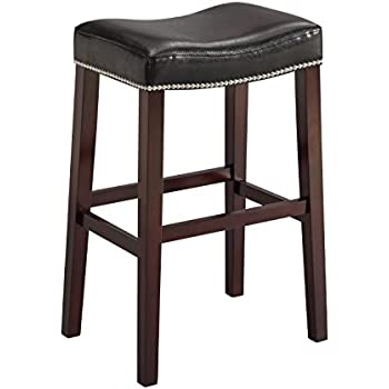 Amazon Com Acme Lewis Bar Stool Set Of 2 Black Pu And