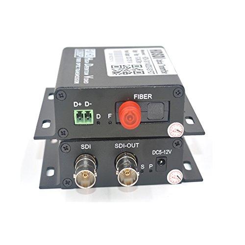 Guantai HD SDI Fiber Optic Media Converter Transmitter and Receiver 1 Pair -Video Audio Signal Over Fiber, Working Distance 20Km