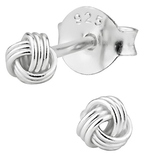 Hypoallergenic Sterling Silver Small Love Knot Stud Earrings for Kids (Nickel Free) by Penny & Piper (Image #1)'