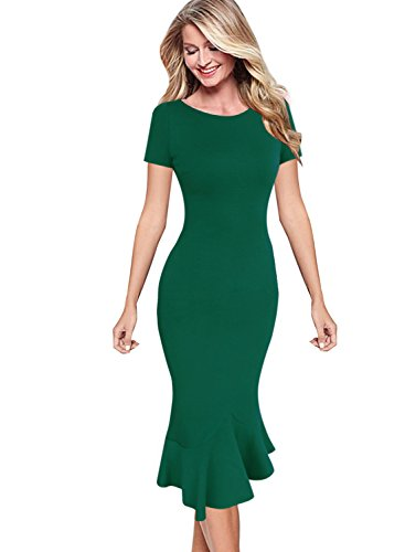 VFSHOW Womens Elegant Vintage Cocktail Party Mermaid Midi Mid-Calf Pencil Dress 1216 GRN XL