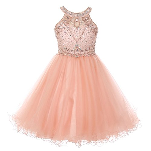 Big Girls Blush Rhinestone Halter Neck Tulle Junior Bridesmaid Dress 10 Pink from Cinderella Couture