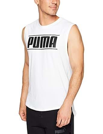 PUMA Men's Rebel Muscle Tee, White,S