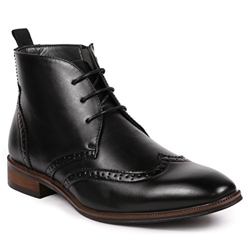 Metrocharm MC116 Men's Lace Up Perforated Wing Tip Formal Dress Ankle Boots (12, (Perforated Wing Tip)