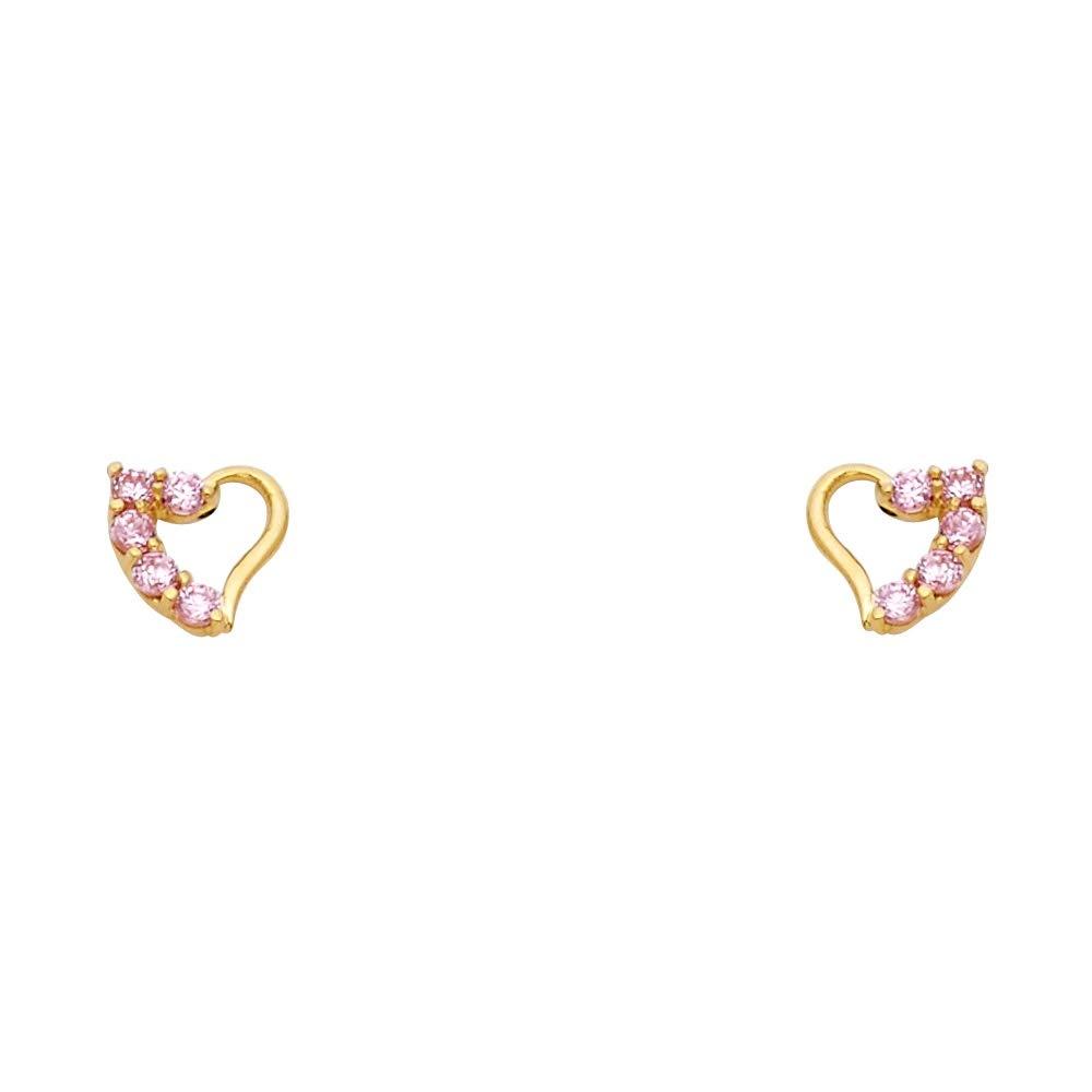 Wellingsale 14K Yellow Gold Journey Heart Stud Earrings