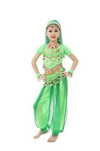 Feimei Girl's Exotic Jasmine Belly Dance with Halter Top Harem Pants and Sequin Coins for Performance and Halloween(Green, Large)