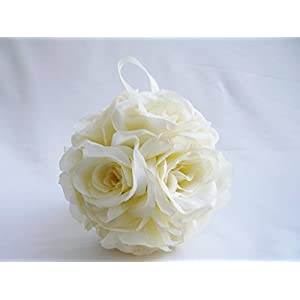 1Pcs 20'' Circumference White Ivory Color Silk Kissing Pomander Flower Girl Ball For Bridal Wedding Decorration Artificial Wedding Party Ceremony Satin Ribbon: 4'' long 37
