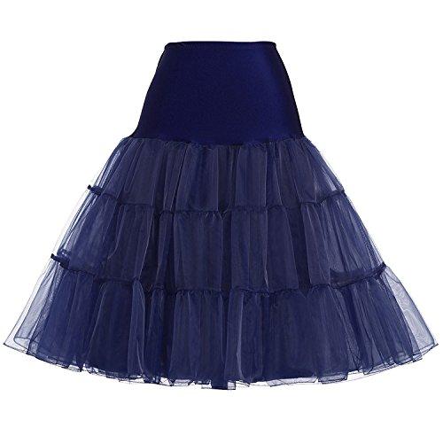 GRACE KARIN Women 50s Petticoat Skirts Tutu Crinoline Underskirt Navy