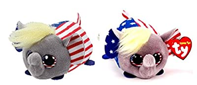 Political TY Teeny Plush - Vote Republican elephant x 2 (Trump-like hair)