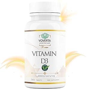 Vitamine D3 1000 UI | 365 petits comprimés de vitamine d végétarienne | Cholecalciférol|immunité | Os et Dents | Muscles…