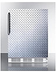Summit FF6LBI7DPLADA Refrigerator, Silver With Diamond Plate