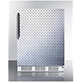 Summit FF6LBIDPLADA Refrigerator, Silver With Diamond Plate