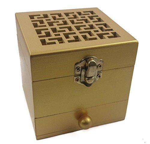 Wood Incense Burner Holder Box - Nazareth Store Wooden Incense Burner Resin Holder Gold Natural Wood Box Distiller Charcoal Burne
