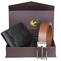 Hornbull Mens Black Wallet and Brown Belt Combo BW102111