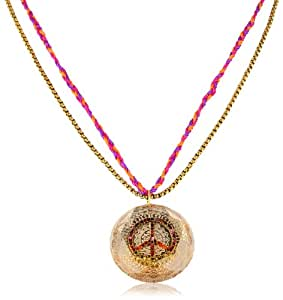 "Betsey Johnson ""St. Barts"" Peace Sign Pendant Necklace, 21"""