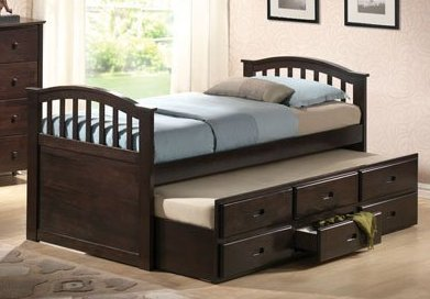 ACME Furniture 04990 Twin Bed and Trundle with Drawers - Dark Walnut