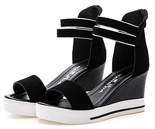 CHFSO Womens Trendy Ankle Strap ZipperOpen Toe High Wedge Heel Platform Gladiator Sandals Black nUtmv50Tyn