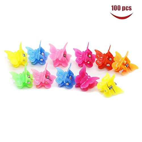 WEFOO 100 Pack of Assorted Color Butterfly Hair Clips, Bulk Small Butterfly Hair Clips